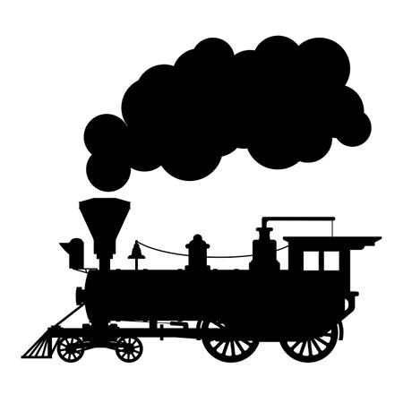 Silhouette steam locomotive Banco de Imagens - 82738961
