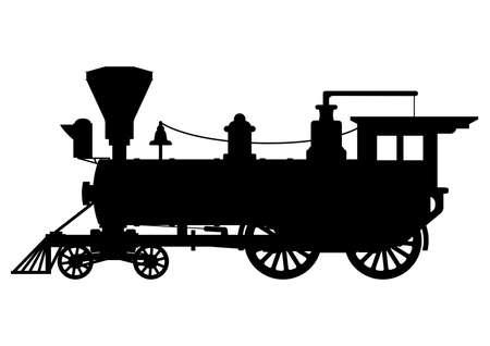 Silhouet stoom lokomotief Stock Illustratie