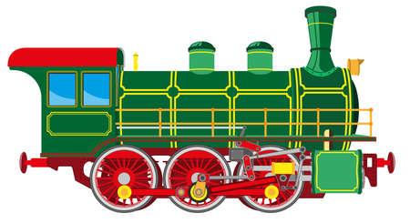 Locomotora de vapor de dibujos animados brillante