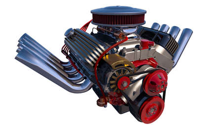 dragster: Hot rod engine isolated. 3D render Stock Photo