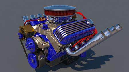motorizado: Motor del coche de carreras. Procesamiento 3D