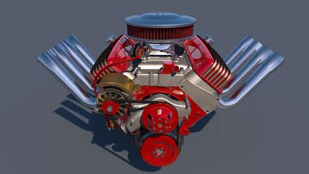 fuel rod: Hot rod engine. 3D render