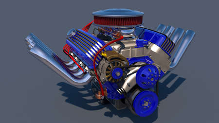 Hot rod engine. 3D render