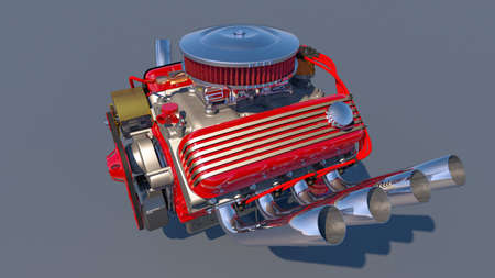 Hot rod engine. 3D render