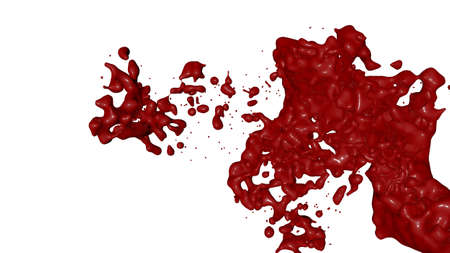 ink stain: Red paint splash isolated. 3D rende