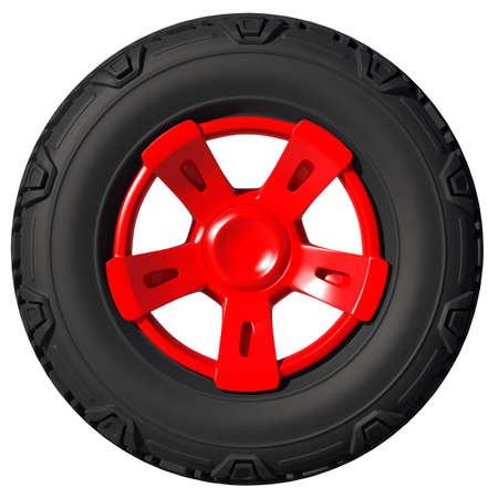 Automotive off road wheel isolated on white. 3D render