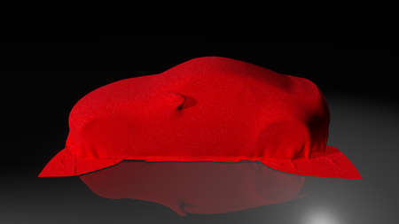 Car covered with a cloth. 3D render