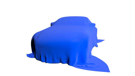 Car covered with a cloth isolated. 3D render