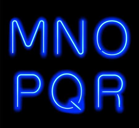 Glowing Neon Alphabet.