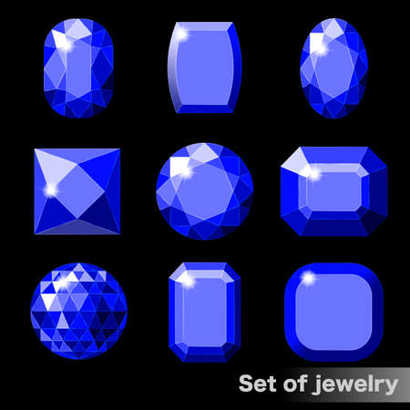 Set of blue gems sapphire of various shapes. Vettoriali