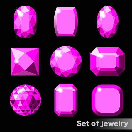 Set of purple gems amethyst of various shapes. Illustration