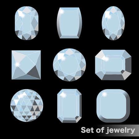 様々な形状の白い宝石ダイヤモンドのセット。