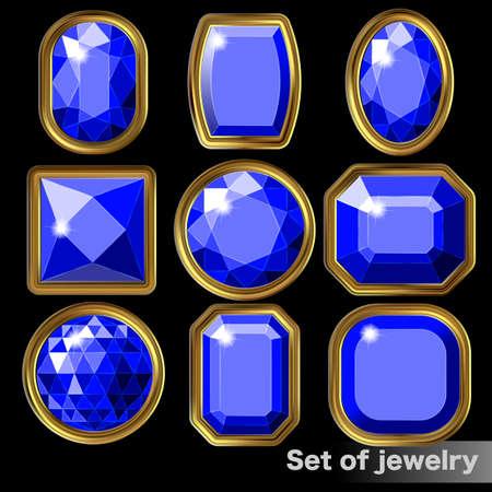 Set of blue gems sapphire of various shapes. Stock Illustratie