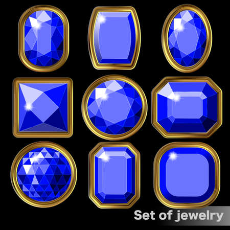 Set of blue gems sapphire of various shapes. Illustration