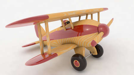 Wooden toy airplane. 3D render Stock Photo