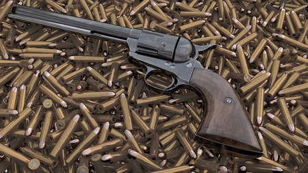 Vintage revolver background. 3D render Stock Photo