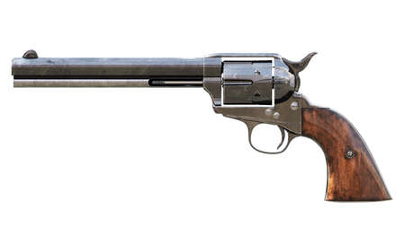 Vintage revolver isolated. 3D render Stock Photo