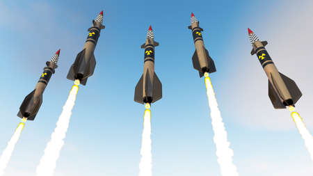 Nuclear missiles. 3D render Stock Photo