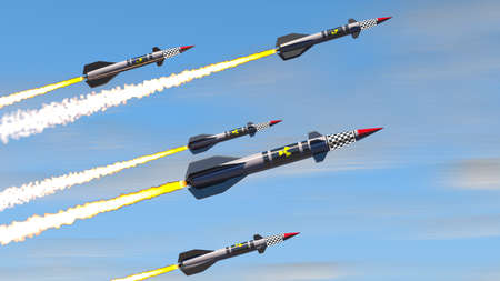 Nuclear missiles. 3D render Standard-Bild