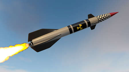 Nuclear missile. 3D render Stock Photo