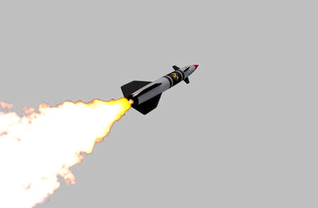 Nuclear missile isolated on grey background. 3D render