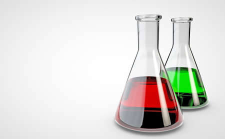 Chemical laboratory flask. 3D render