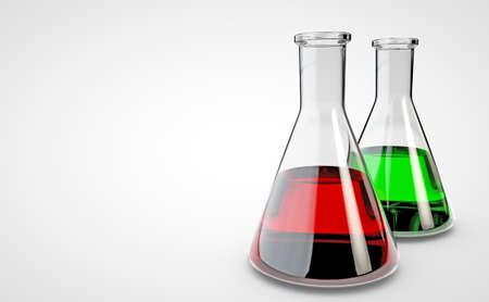 Kolba do laboratorium chemicznego. Renderowania 3D Zdjęcie Seryjne