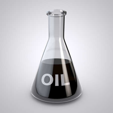 Laboratory glassware with oil. Background. 3D render