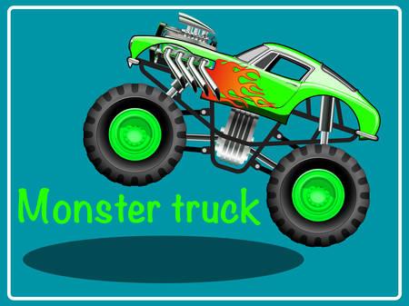 Cartoon Monster Truck Illustratie illustraties. Vector Illustratie