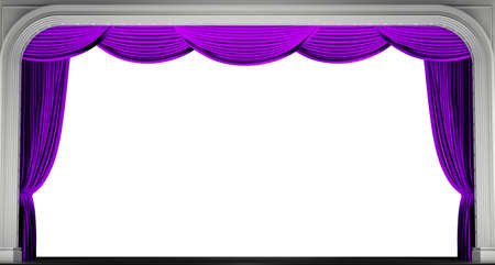 Purple curtains isolated. 3D render