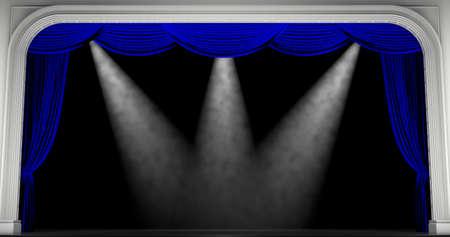 Blue curtains. 3D render