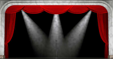 Red curtains. 3D render
