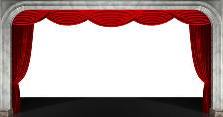 Red curtains isolated. 3D render