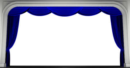 Blue curtains isolated. 3D render Stock Photo