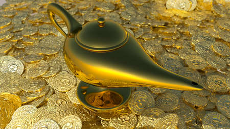 Magical lamp of Aladdin. 3D render
