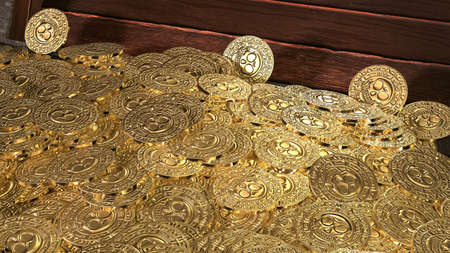 Pirate coins treasure. 3D render.