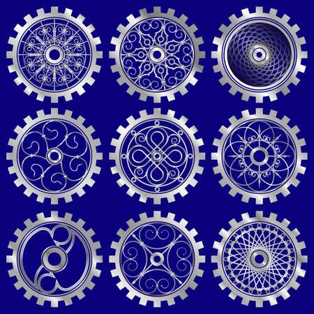 The steampunk gears set Illustration