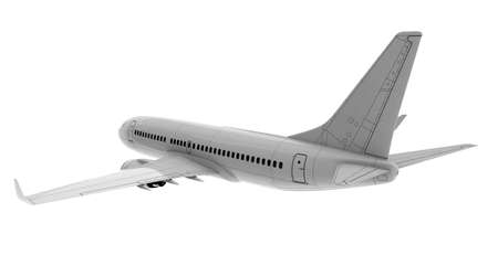Commercial jet plane. 3D render. Rear view side Stock Photo