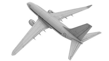 Commercial jet plane. 3D render. Top rear view