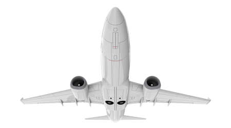 Commercial jet plane. 3D render. Bottom front view