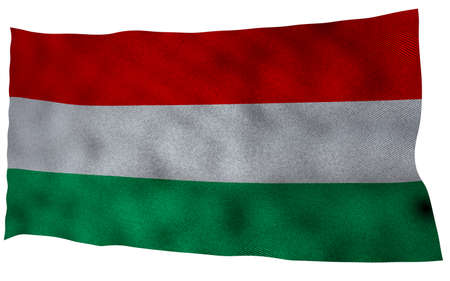 Hungary flag with fabric texture. 3D remder.