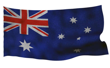 Australian flag with fabric texture. 3D remder.