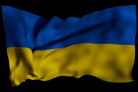 Ukraine flag with fabric texture. 3D remder.