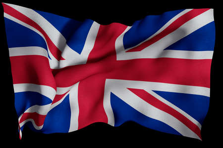 UK flag with fabric texture. 3D remder. Stock Photo