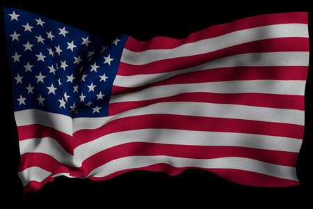 USA flag with fabric texture. 3D remder. Stock Photo