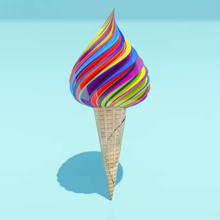 Colorful ice cream. 3D render. Stock Photo