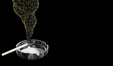 Cigarette on ashtray. Concept. 3D render. Stock Photo
