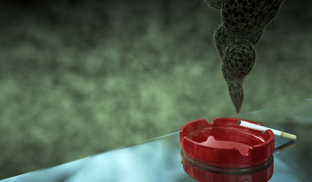 Closeup of cigarette on ashtray with gold tracery smoke. Concept. 3D render.