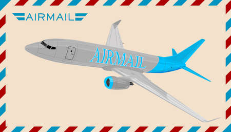 Airplane on envelope Vector illustration. Illustration
