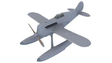 White seaplane. 3D render